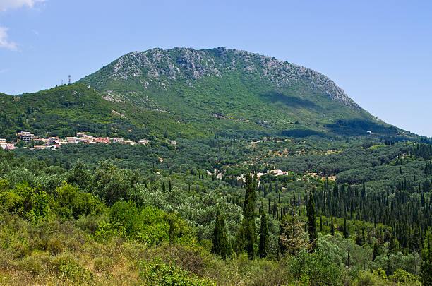 Pantokrator mountain on Corfu island, Greece stock photo