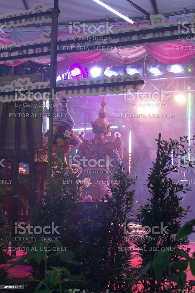 Pantomime performances dance at Wat Rai Khing Festival. stock photo