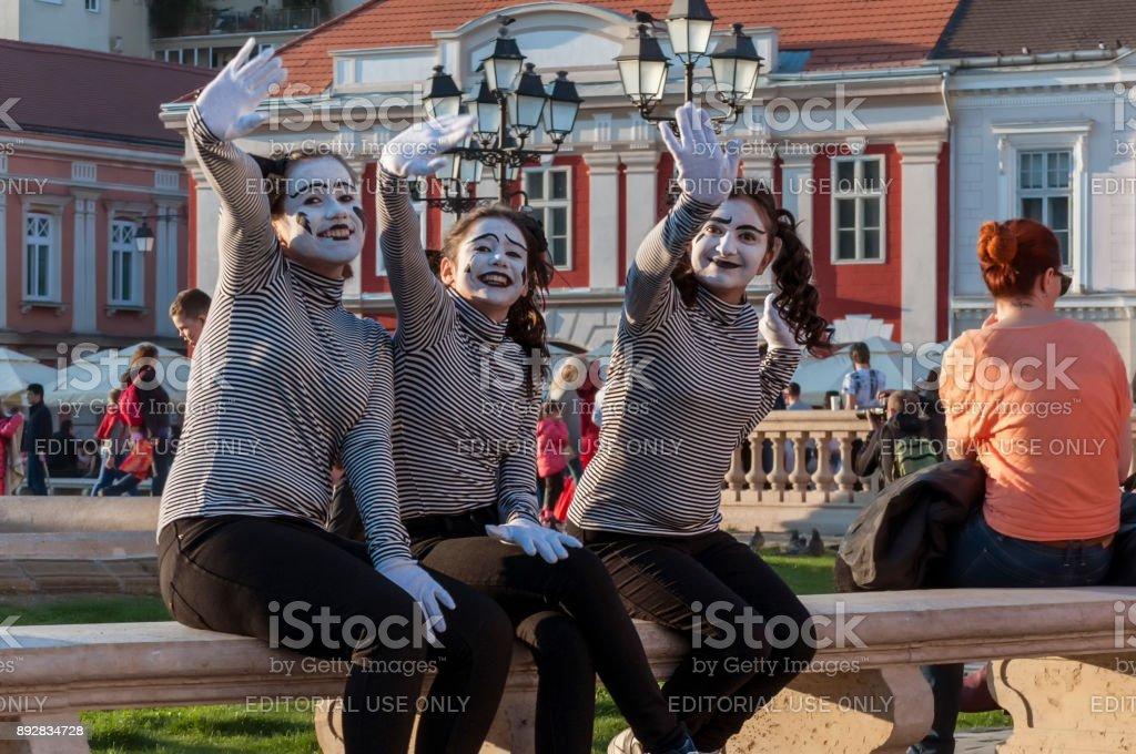 Pantomime waving and smiling stock photo