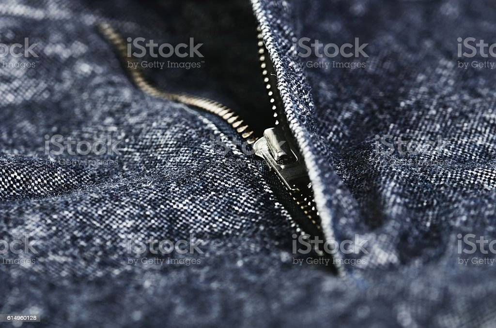 pants fly undo close-up, horizontal stock photo