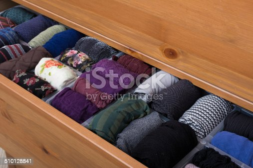 walk-in closet dresser with pantyhose pattern hoses neatly stacked