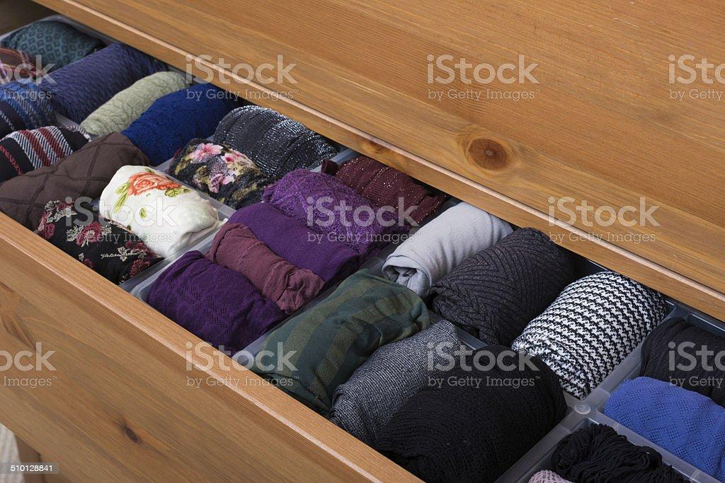 Pantimedias varios colores y patrones de cajón - foto de stock