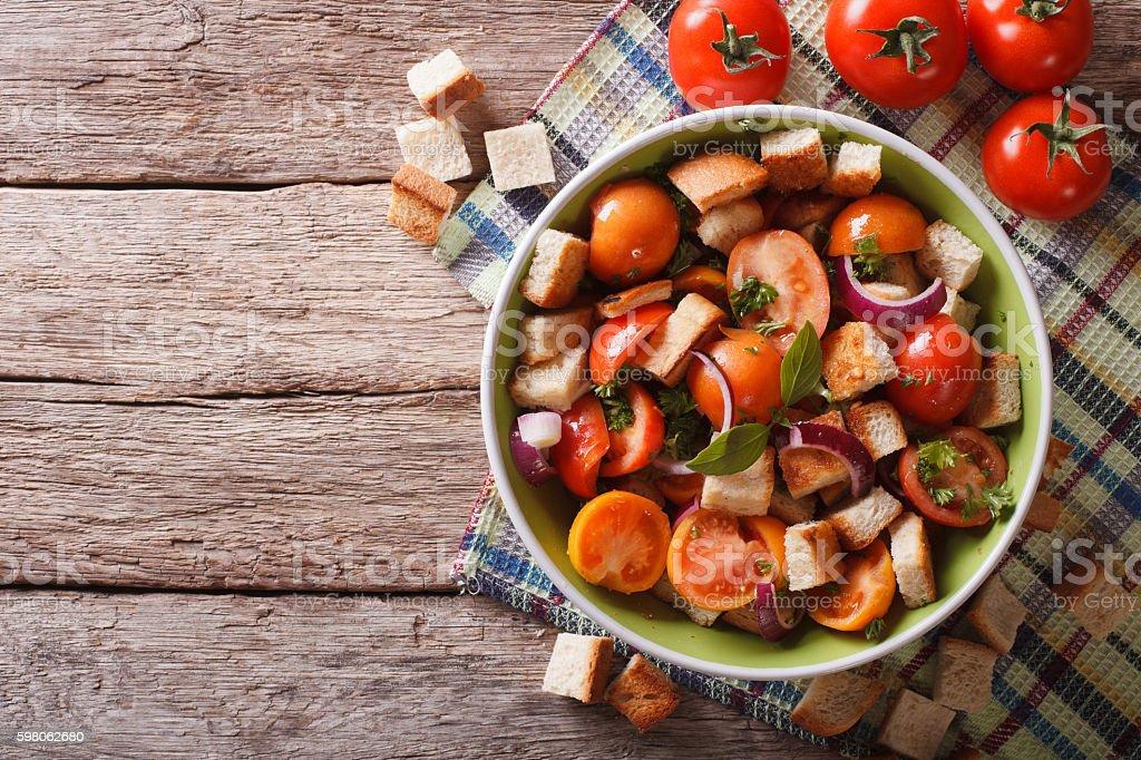 Panzanella salad on a plate. Horizontal top view stock photo