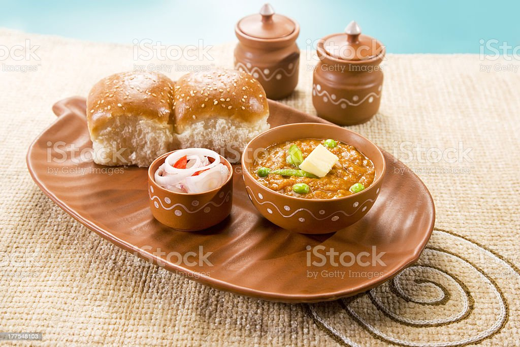 Pao Bhaji, Indian Fast Food royalty-free stock photo