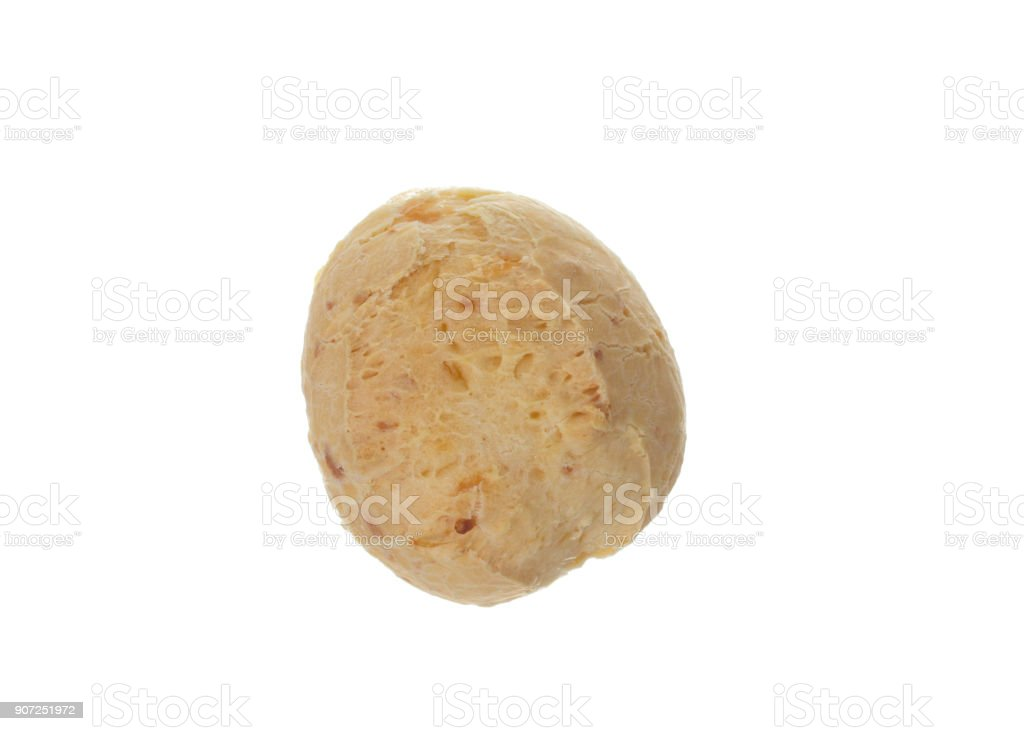 Pao de Queijo is a cheese bread ball from Brazil. Also known as Chipa, Pandebono and Pan de Yuca. Isolated on white background. Top view. stock photo