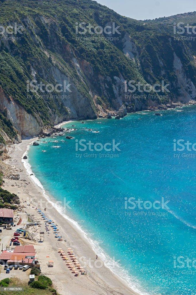 Paorama of Petani Beach, Kefalonia, Greece stock photo