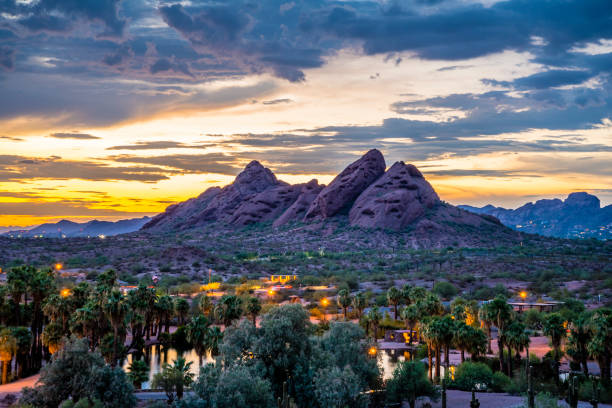 Papago Park after Sunset stock photo