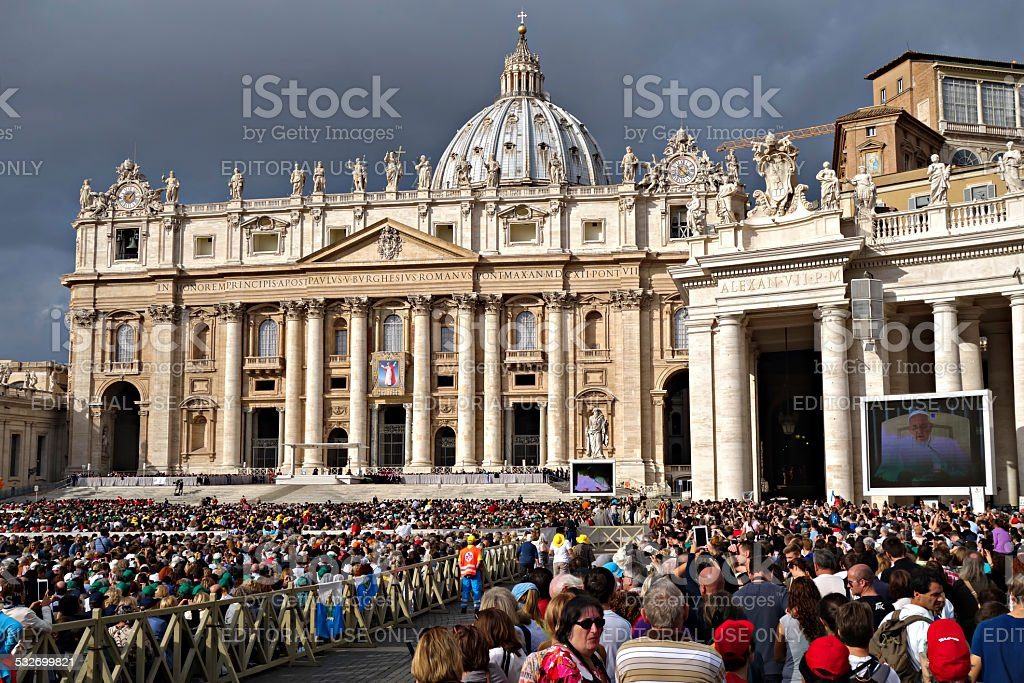 Papal Audience in St. Peter's Square stock photo
