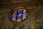 ROME, ITALY - JUNE 01, 2017: General view of  a Stained glass at Papal Basilica of Saint Mary Major