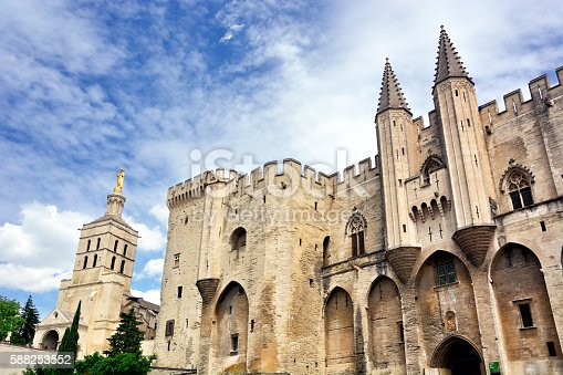 Facade of the Palais des Papes is the papal residence in Avignon, France