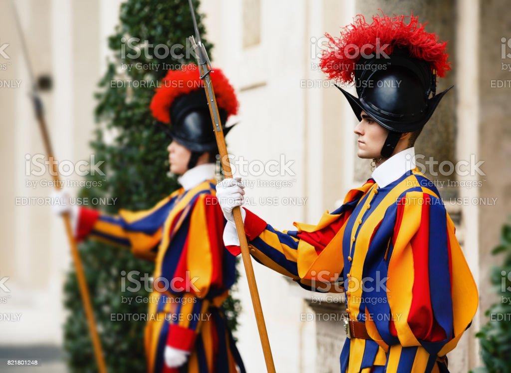 Papal Swiss Guard in uniform stock photo