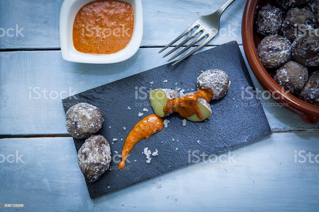 papas con mojo stock photo