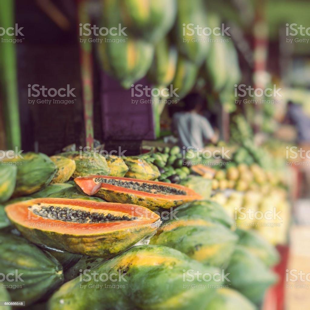 Papaya at tropical market in Yogjakarta, Indonesia. royalty-free stock photo