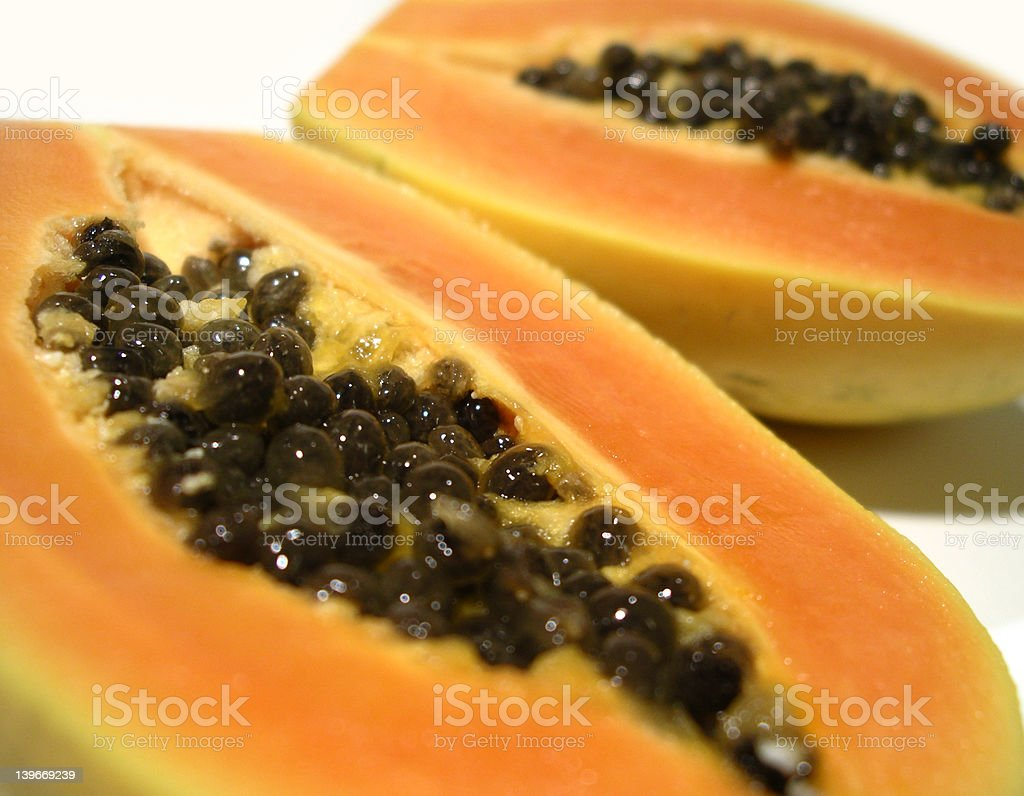 Papaya cut in two royalty-free stock photo
