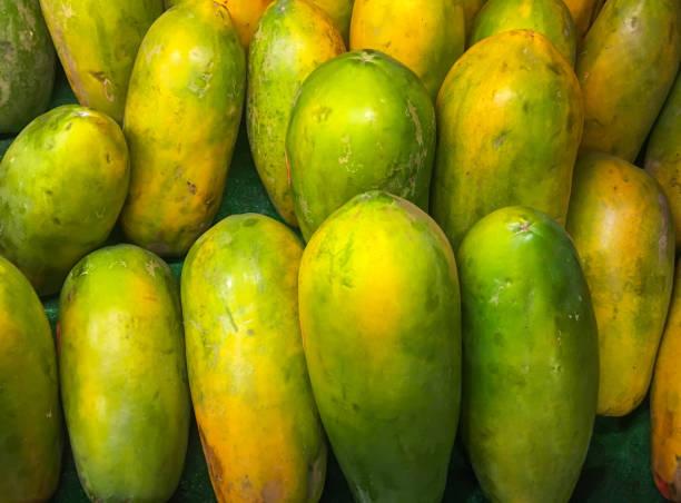 Papaya fruit at market stock photo