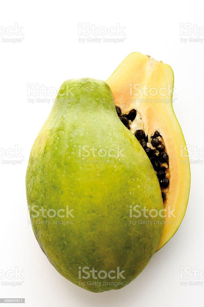 Papaya (pawpaw) fruit halved, close-up stock photo