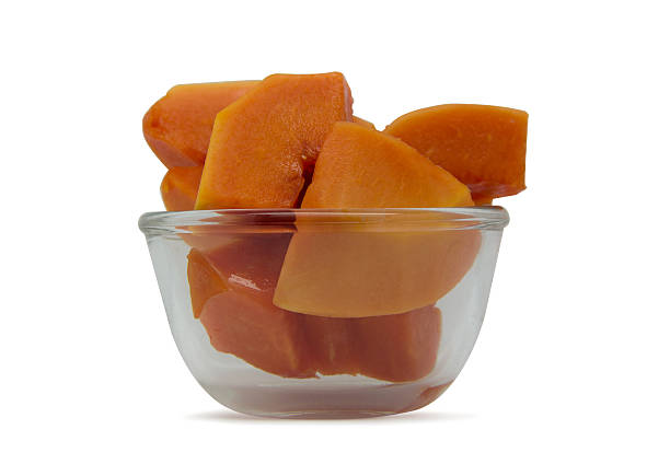 papaya papaya slice in small cup glass carbohydrate biological molecule stock pictures, royalty-free photos & images