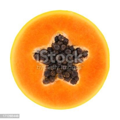 Papaya circle portion on white background. Clipping path included.
