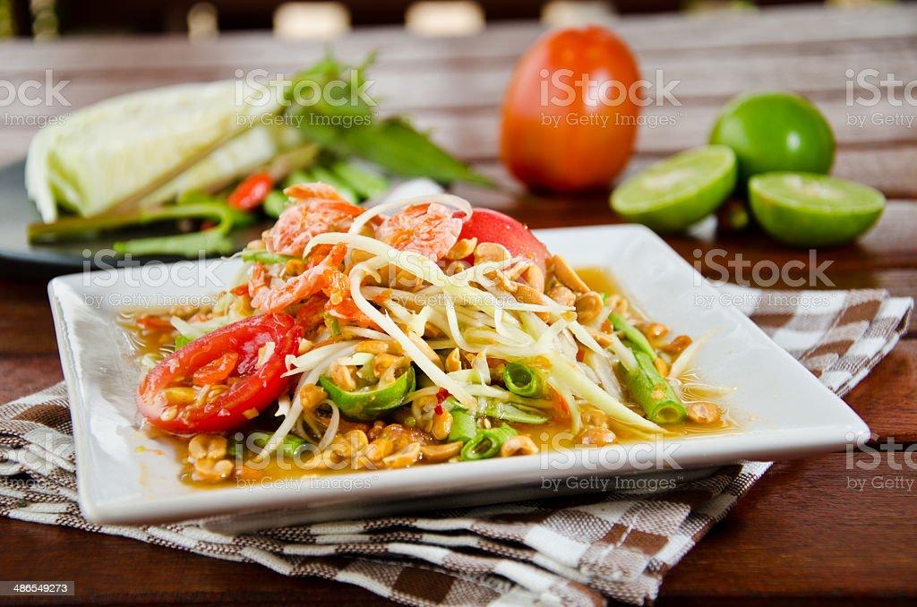 papaya salad stock photo