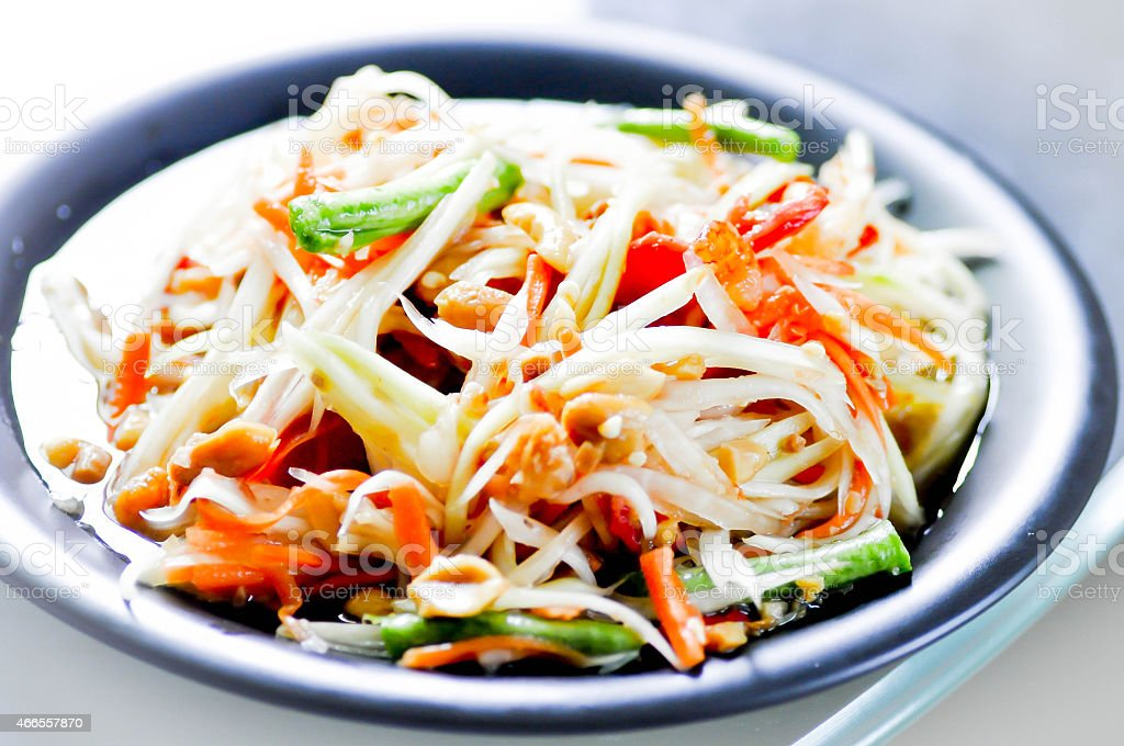 papaya salad som tum,fruit salad,vegetable salad,spicy salad stock photo
