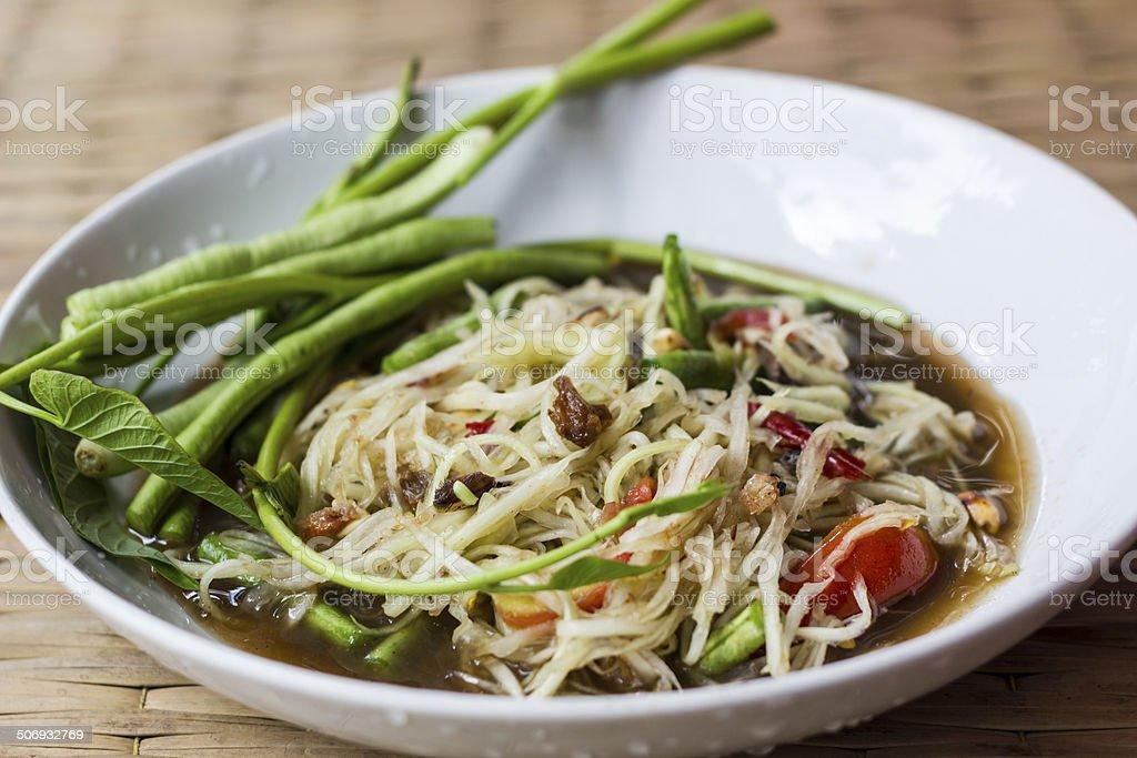 Papaya salad , Somtum , Thai food stock photo