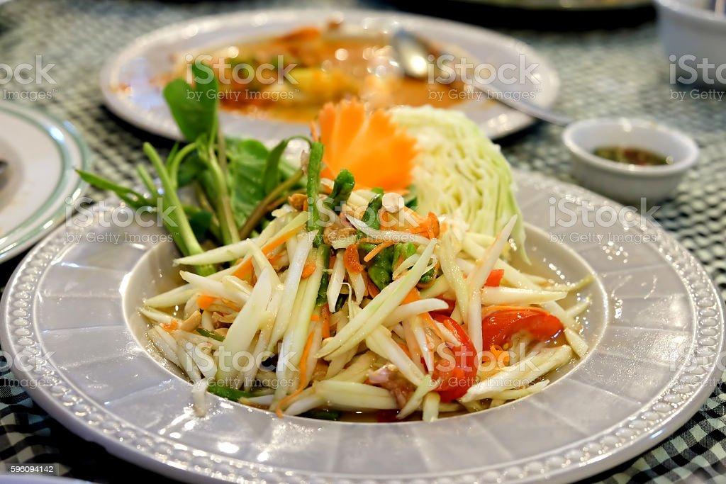 Papaya salad thailand style food. royalty-free stock photo