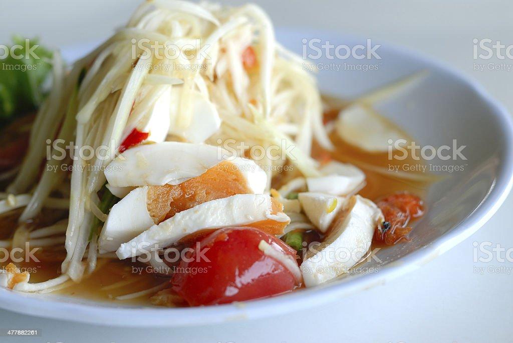 Papaya Salad with Salted Egg royalty-free stock photo