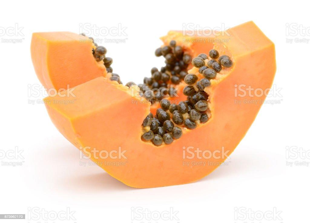Papaya sliced isolated on white background ripe papaya fruit stock photo
