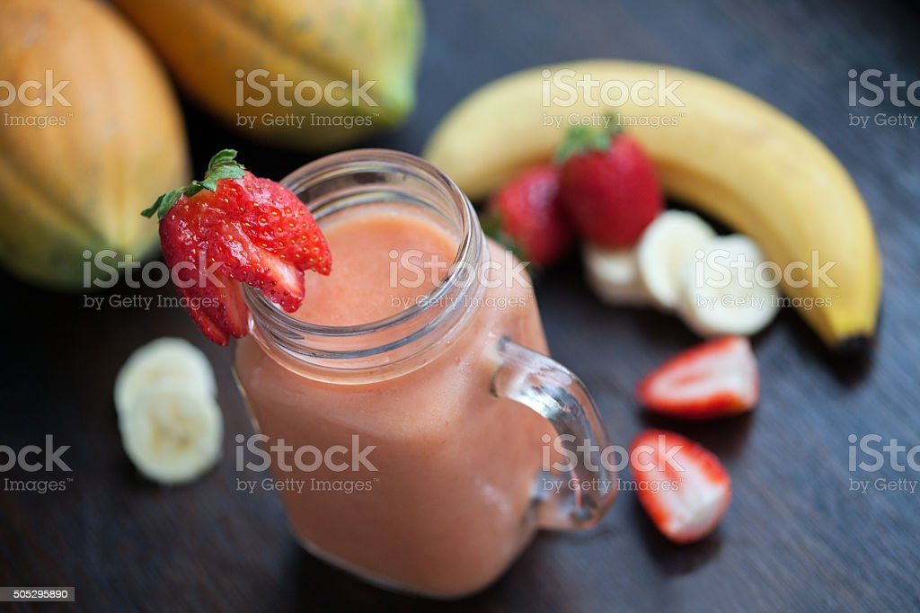 Papaya Strawberry Banana Smoothie stock photo