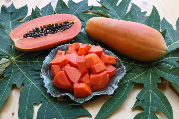 papaya_fruit_above_crop stock photo
