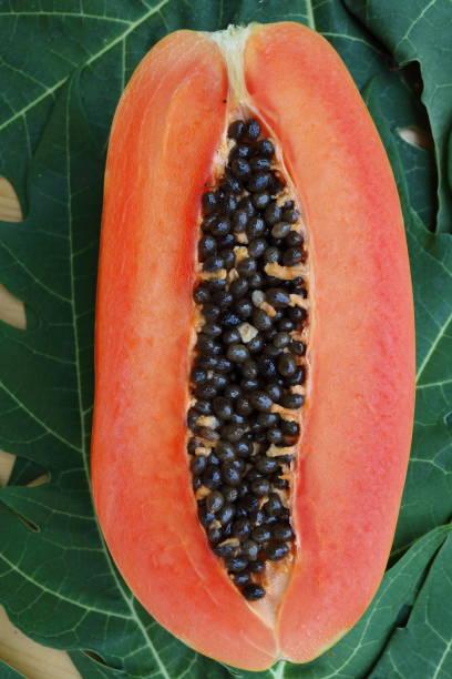 papaya_fruit_cut_half stock photo