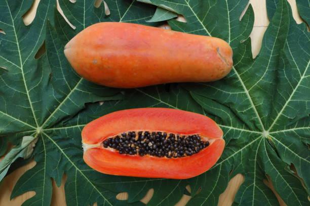 papaya_fruit_cut_half_c stock photo