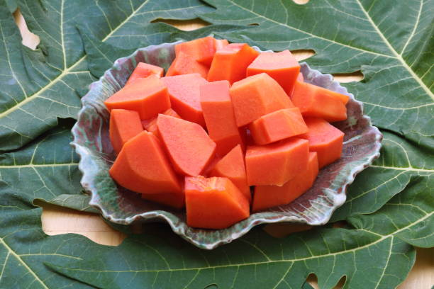 papaya_fruit_in_dish stock photo
