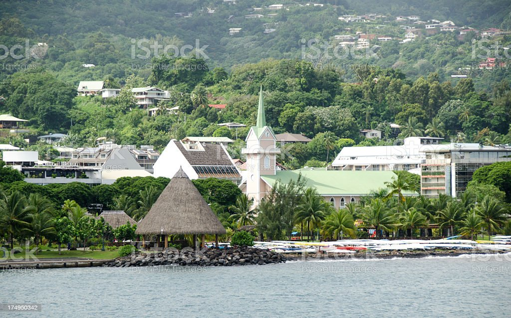 Papeete Church and Mountain royalty-free stock photo
