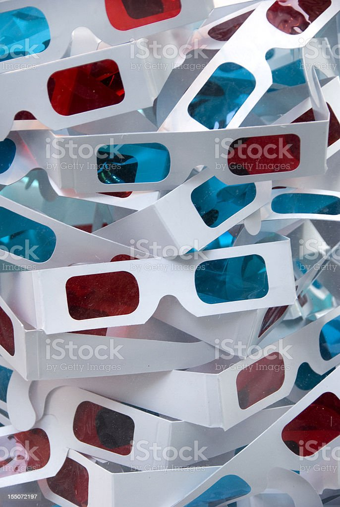 Paper 3D movie glasses stock photo