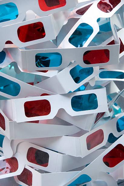 Paper 3D movie glasses stock photo