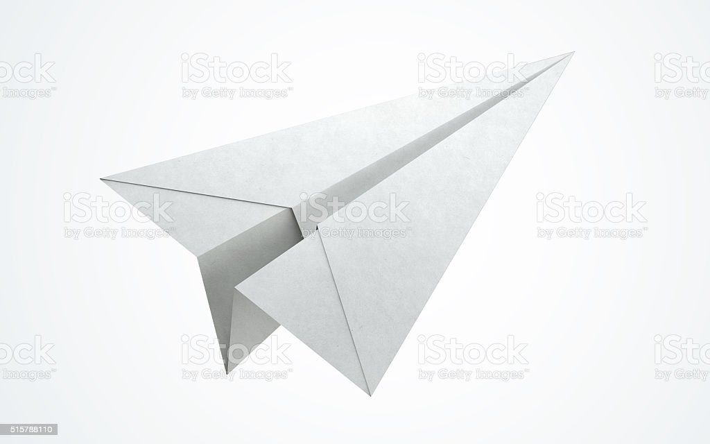 Paper airplane flying stock photo