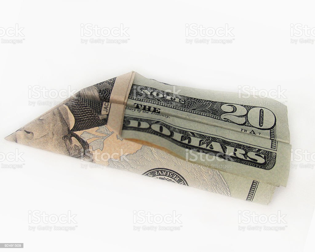 Paper Airplane from a Twenty Dollar Bill royalty-free stock photo