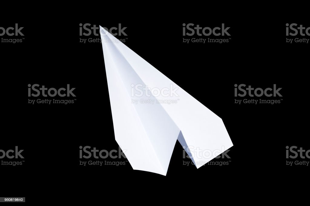Paper airplane on a black background. paper symbol of the message.