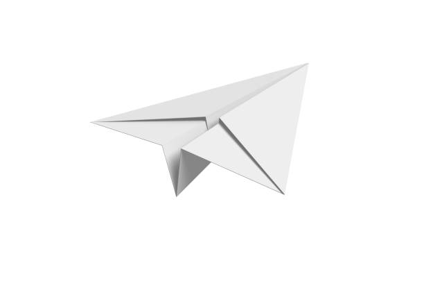 Paper airplane Paper airplane on white background aerodynamic stock pictures, royalty-free photos & images