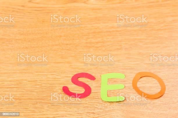 Papieralphabet Seo Auf Holz Hintergrund Stockfoto und mehr Bilder von Alphabet
