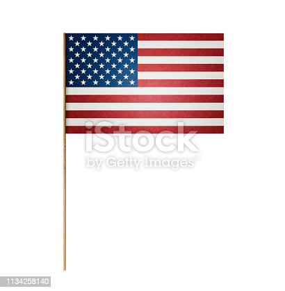 istock Paper American flag on wooden stick 1134258140