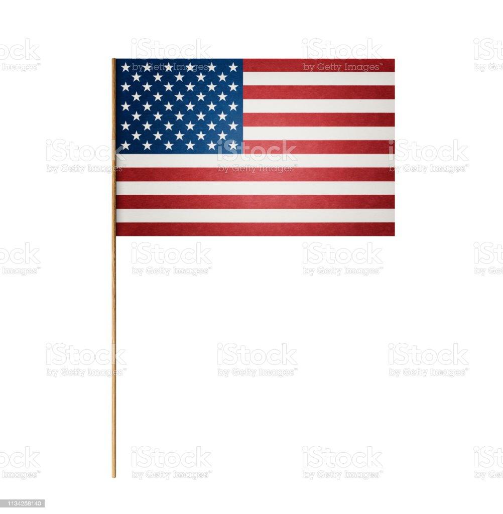 Papier amerikanische Flagge auf Holzstab – Foto