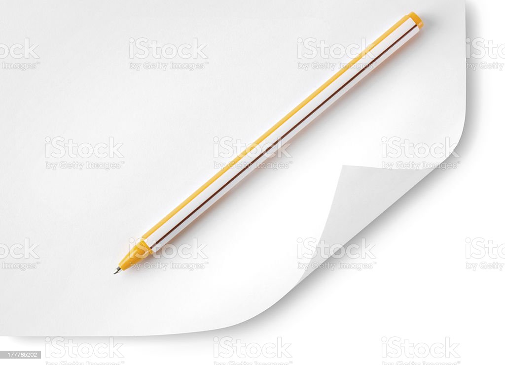Paper and ballpoint pen royalty-free stock photo