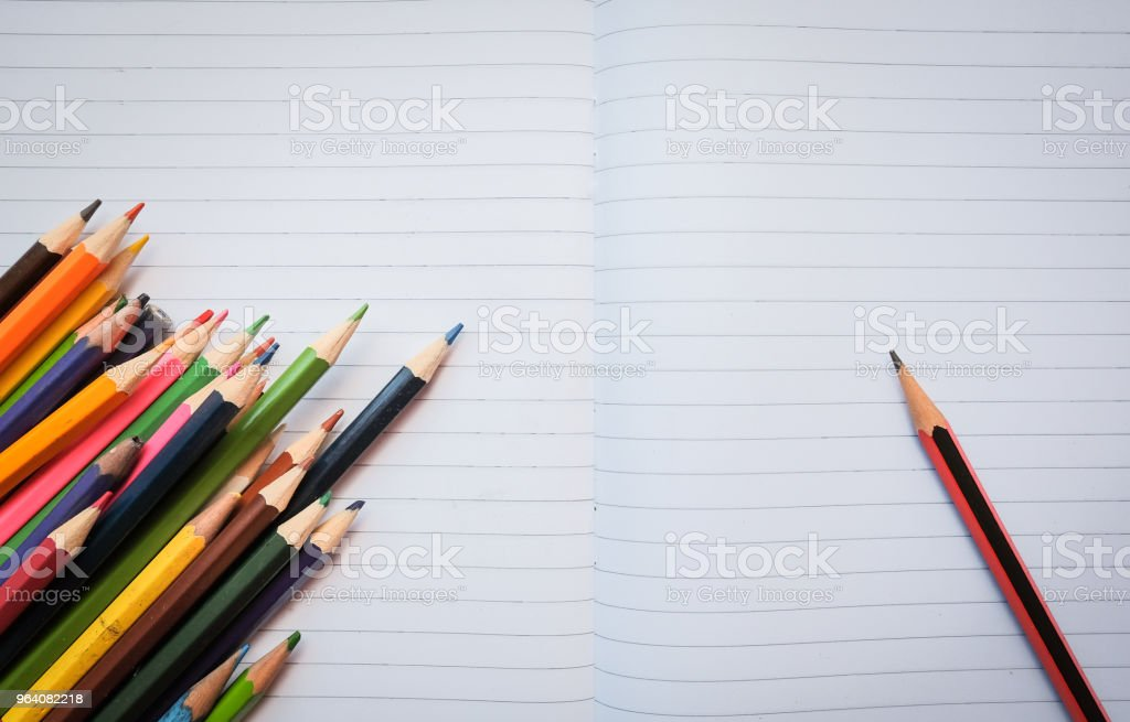 Paper and crayons - Royalty-free Above Stock Photo
