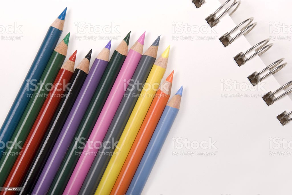 Paper and pencils royalty-free stock photo