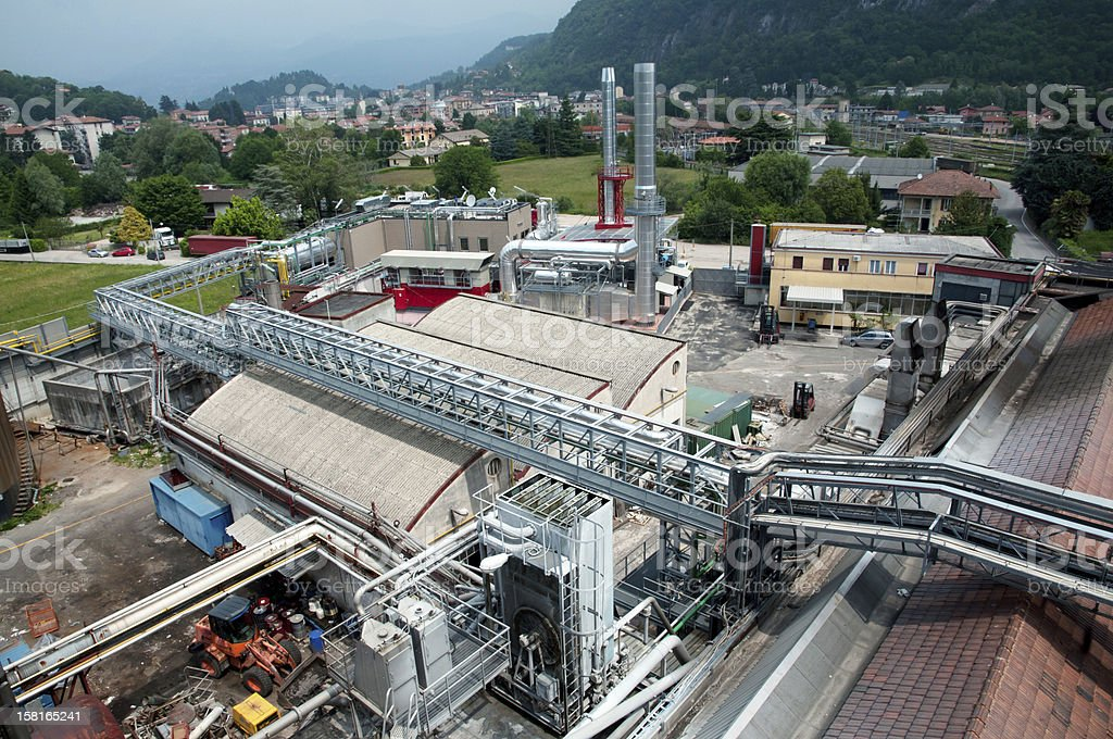 Paper and pulp mill - Cogeneration plant stock photo
