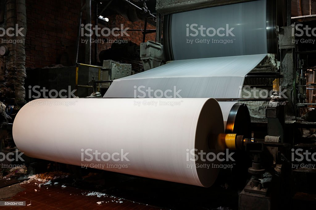 Paper and pulp mill stock photo