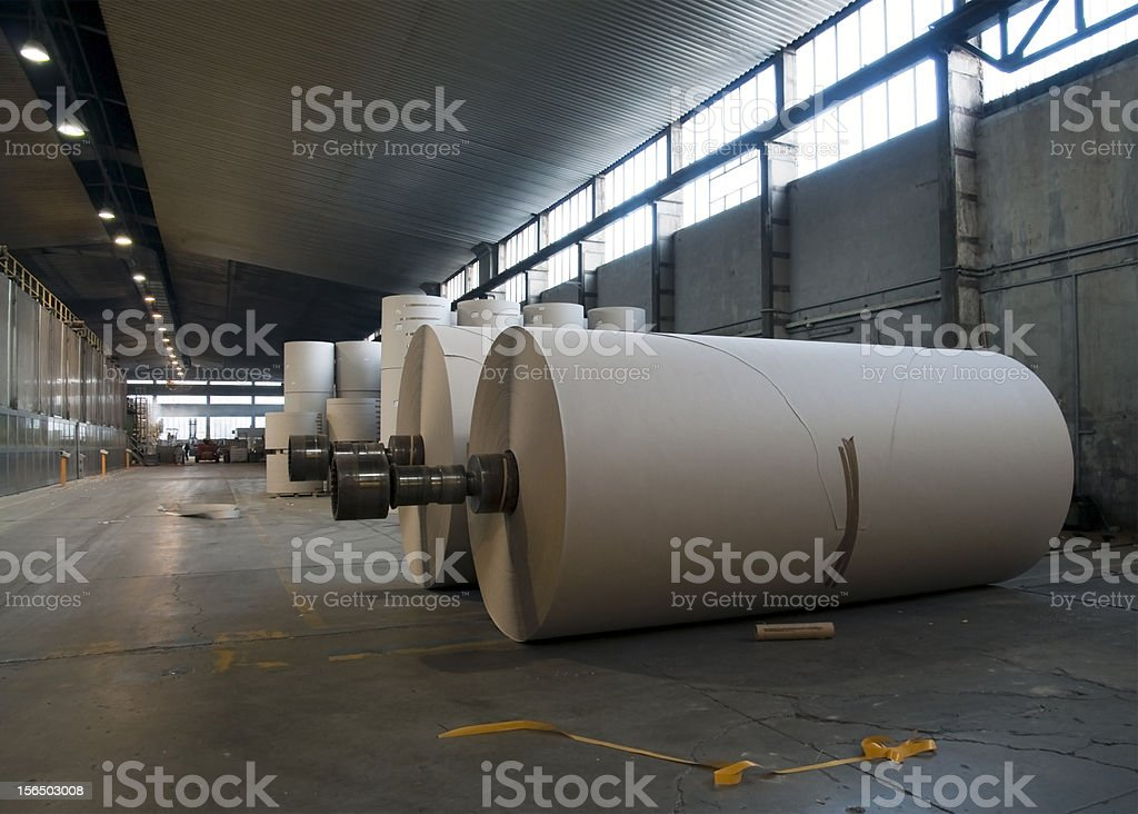 Paper and pulp mill plant stock photo