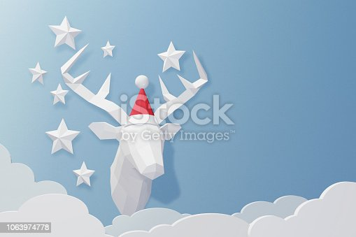 istock Paper art and craft style of Deer head wearing Santa hat model with copy space, Create custom greeting cards given on special occasions such as Happy new year or Christmas, 3D rendering design. 1063974778